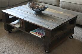 this ingenious coffee table will complement a spacious living room having a contemporary decorating style the weathered look of this classy diy pallet build pallet furniture plans