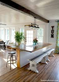 16 Sunroom and dining room renovation, built-in table made of reclaimed  wood,
