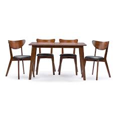 dining chairs brown. Modern Mid-Century Style 5-Piece Dining Set In Dark Brown Walnut Finish Chairs