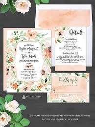 Gorgeous Floral Wedding Invitation Suite | 3 <b>Pc</b> Elegant <b>Peach</b> ...