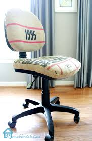 coffee sack used to reupholster an office chair