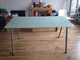 ikea galant frosted glass office table silver legs