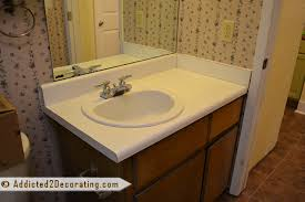 bathroom makeover laminate countertop before
