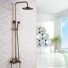 2019 wall mounted antique brass bath shower faucets 8 rainfall showerhead dual handles mixer faucet from rozinsanitary1 245 23 dhgate com