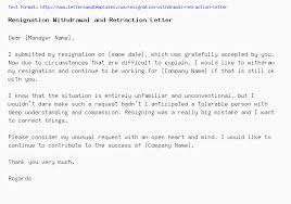 Resigned Format Resignation Withdrawal And Retraction Letter