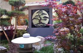 Lawn & Garden:Small Space Japanese Garden With Natural Green Plants And  Japanese Painting With