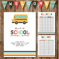 Back To School Night Invite Volunteer Sign Up Sheet Welcome