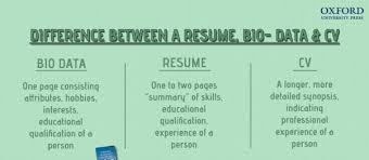 Difference Between Resume And Cv And Biodata Twnctry
