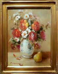 pear and vase of flowers