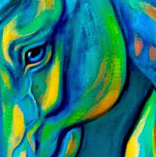 large horse painting in bright colors by theresa paden