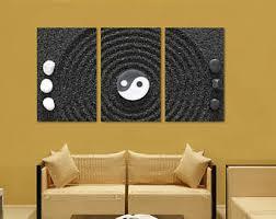 Yin Yang, Zen Wall Art Canvas Print - 3 Panel Split, Triptych. Gray
