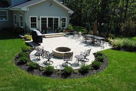 paver patio with fire pit. Simple Fire Tumbled Paver Patio With Planting Beds In Bainbridge On With Fire Pit