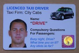 Hologram Fake With Driver Plastic Personalised Novelty Joke Ebay Taxi Card Pvc Id