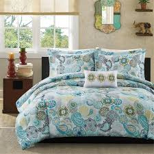 bohemian blue printed king comforter set with machine washable
