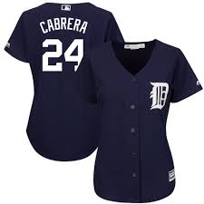 Women's Detroit Tigers Miguel Cabrera Majestic Fashion Navy Cool Base  Player Jersey