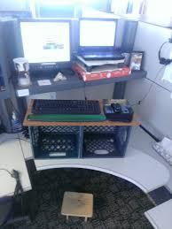 milk crates standing desk
