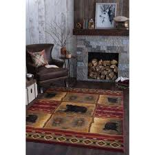 nature red 8 ft x 10 ft lodge area rug
