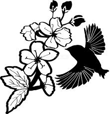 白黒の桜イラスト おしゃれ鳥と枝39664 素材good