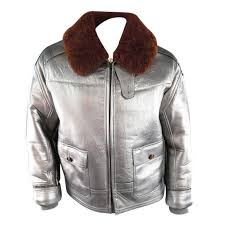 rlx by ralph lauren mens 42 metallic silver leather brown sharling collar jacket for