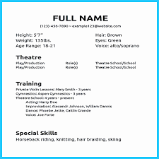 Sample Beginner Acting Resume New Acting Resume No Experience Of