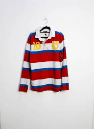 red blue white stripe rugby shirt
