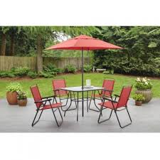 com mainstays searcy lane 6 piece padded folding patio dining set red seats 4 garden outdoor