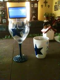 dallas cowboys hand painted wine glass and coffee mug