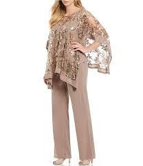 R M Richards Plus Size 2 Piece Sequin Lace Poncho Pant Set