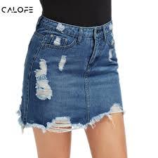 CALOFE Women Blue Ripped Casual Mini Denim Skirt <b>2019</b> ...