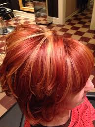 Red With Chunky Blonde Highlights