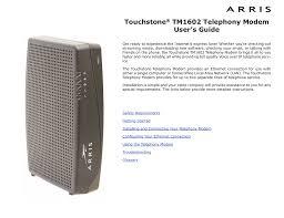 Arris Tm1602 Blinking Us Ds Light Touchstone Tm1602a Telephony Modem User S Guide Manualzz Com