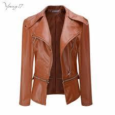 young17 faux leather jackets women biker jacket autunm winter army green khaki black brown zipper pu coat motorcycle outerwear fleece jackets fleece jacket