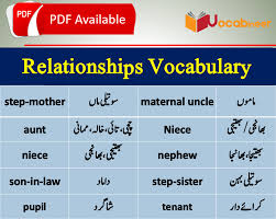 Family Relations Chart English Relationship Vocabulary With Urdu Meanings