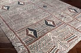 surya zambia rectangular cream dark brown black area rug hover to zoom