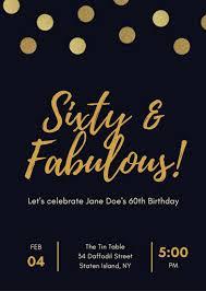 Black And Gold Polka Dot 60th Birthday Invitation Templates By Canva