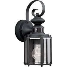progress lighting p5662 31 1 light wall lantern with motion sensor black wall sconces com