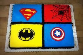 superhero sheet cake childrens birthday trefzgers bakery