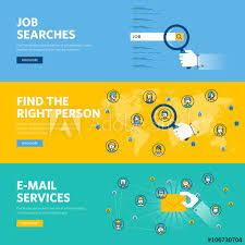 Professional Skill Set Set Of Flat Line Design Web Banners For Job Searches Human