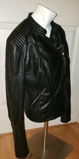 zara trafaluc outerwear division black khaki faux leather coat jacket size l for