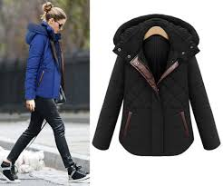 winter coat jacket hooded jacket blue black zip ons pockets parka warm short overcoat cotton coat wheretoget
