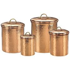Copper Kitchen Decorative Items   Old Dutch Copper Canister Set, Decor  Hammered - 843
