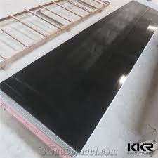 artificial acrylic marble solid surface solid stone slab shower wall panel kkr acrylic black fake stone wall panel