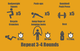 bodyweight squats 5 reps push ups 5 reps on knees if needed dumbbell push press 5 reps bicycle crunch 15 seconds
