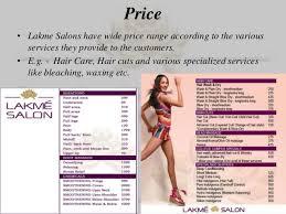 Lakme Salon Price Chart Lakme Salon Service Marketing