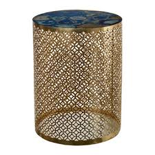 semi precious stone side table blue gold