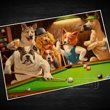 dogs playing billiards propaganda vintage kraft decorative poster diy wall canvas painting sticker delicate home bar