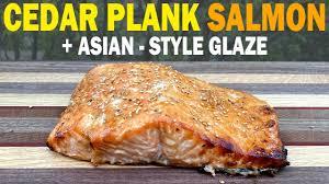 CEDAR PLANK SALMON II: Asian-Style Honey & Soy Sauce Glaze on a Weber Q  Grill - YouTube