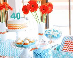 40th birthday party with orange and aqua color scheme