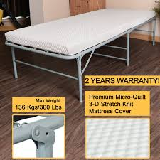 heavy durable galvanized steel frame folding bed for with comfortable soft micro quilt 3d stretch knit mattress cover and bonus storage bag 75 x31
