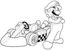 Coloring Pages Mario Mario In Mario Kart Wii Coloring Page Free Printable